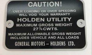 FX 48-215 Holden Ute Gross Weight Tag 27 3/4 CWTS