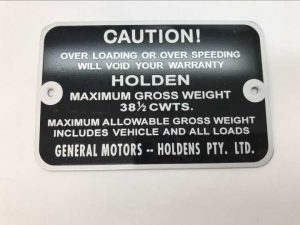 Holden Gross Vehicle Weight Tag HD HR