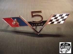 HK Holden 5 Litre Flag Badge