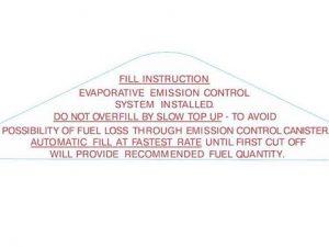 Holden Fuel Filler Door Filling Instructions Decal