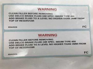 LX-UC Torana Clean Filler Cap Brake Fluid Decal