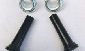 Holden Black Door Lock Knobs with Bezels PAIR