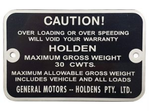 Holden Gross Weight Tag FB UTE Cwts-30