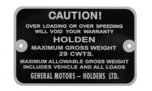 Holden Gross Weight Tag FE FC EJ Ute Cwts-29