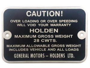 Holden Gross Weight Tag FJ Ute Panel Van