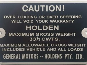 HD-HR Ute Gross Vehicle Weight Plate