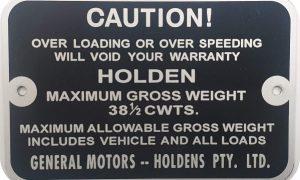 Holden Gross Weight Tag HK HT HG UTE